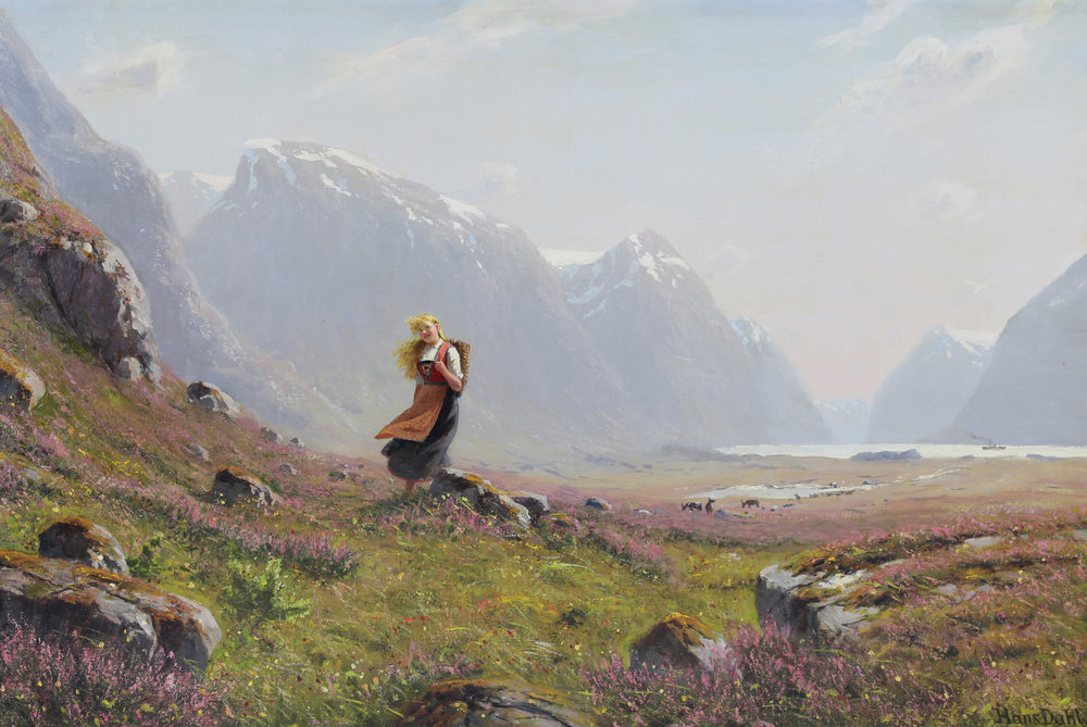 Hans Dahl (Danish 1862-1920) 'Young Girl on a Summer Alpine Stroll'