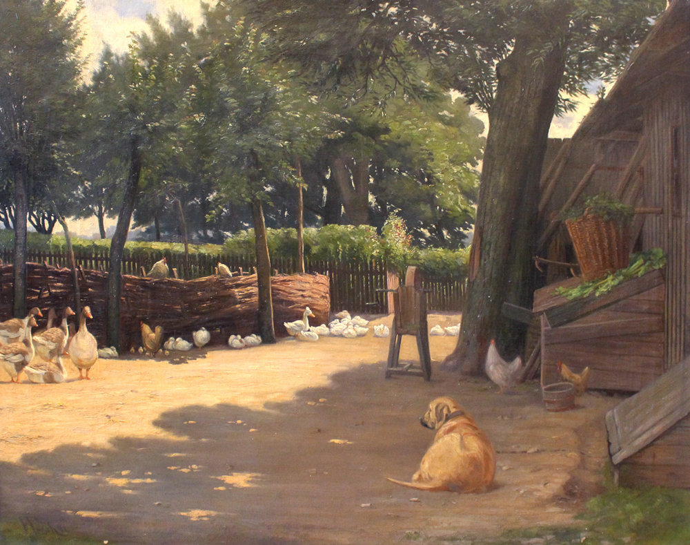 Herman Funch (Danish 1841-1919) 'A Dog is Keeping an Eye on the Geese'