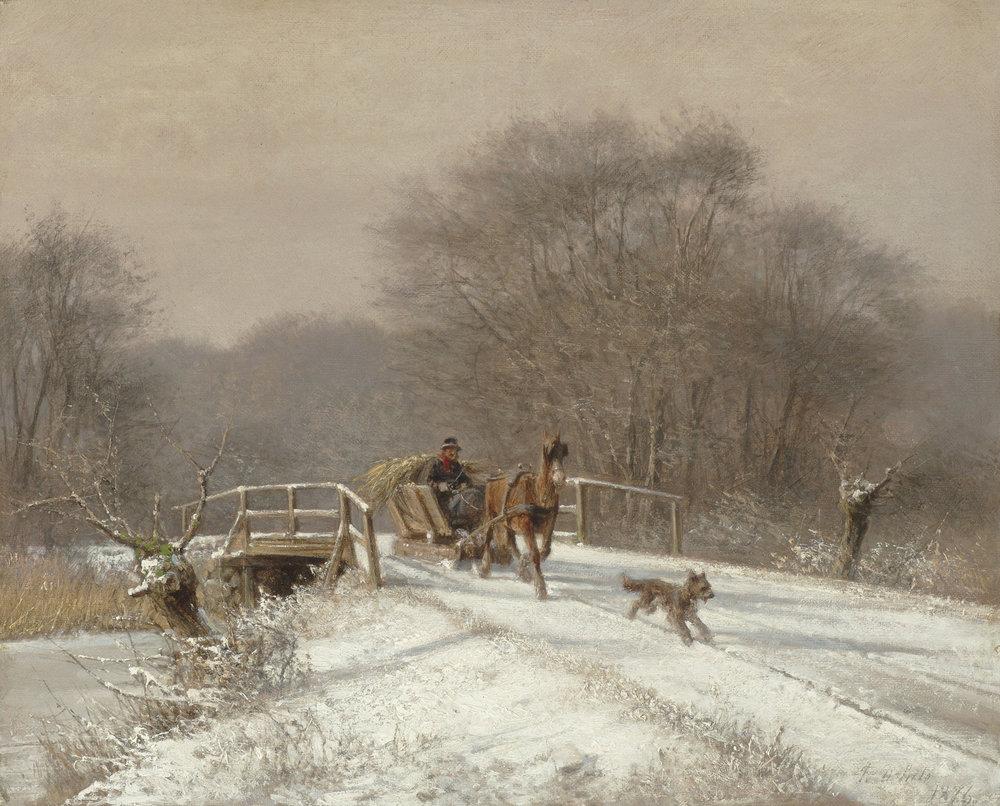 Frederik Rohde (Danish 1816-1886) 'A Sleigh Ride'