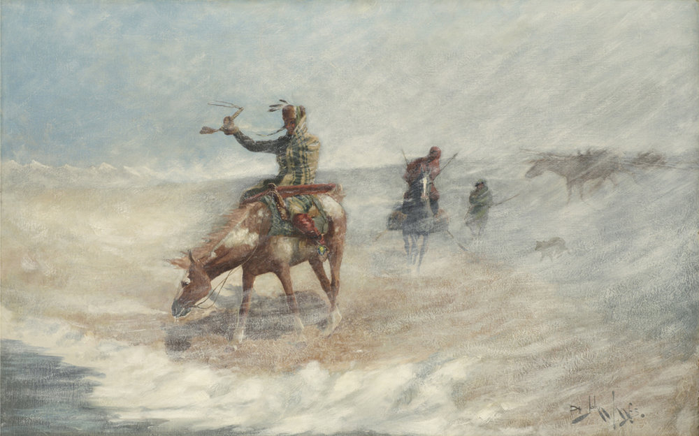John Innes (Canadian 1863-1941) 'Braving the Blizzard'
