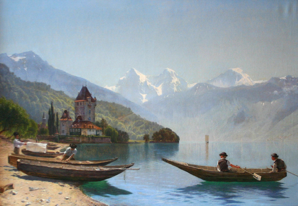 Godfred Christensen (Danish 1845-1928) 'By Thuner Lake, Switzerland'