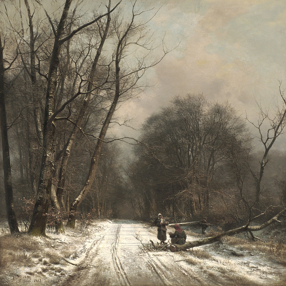 Frederik Rohde (Danish 1861-1886) 'Winter Day in a Forest'