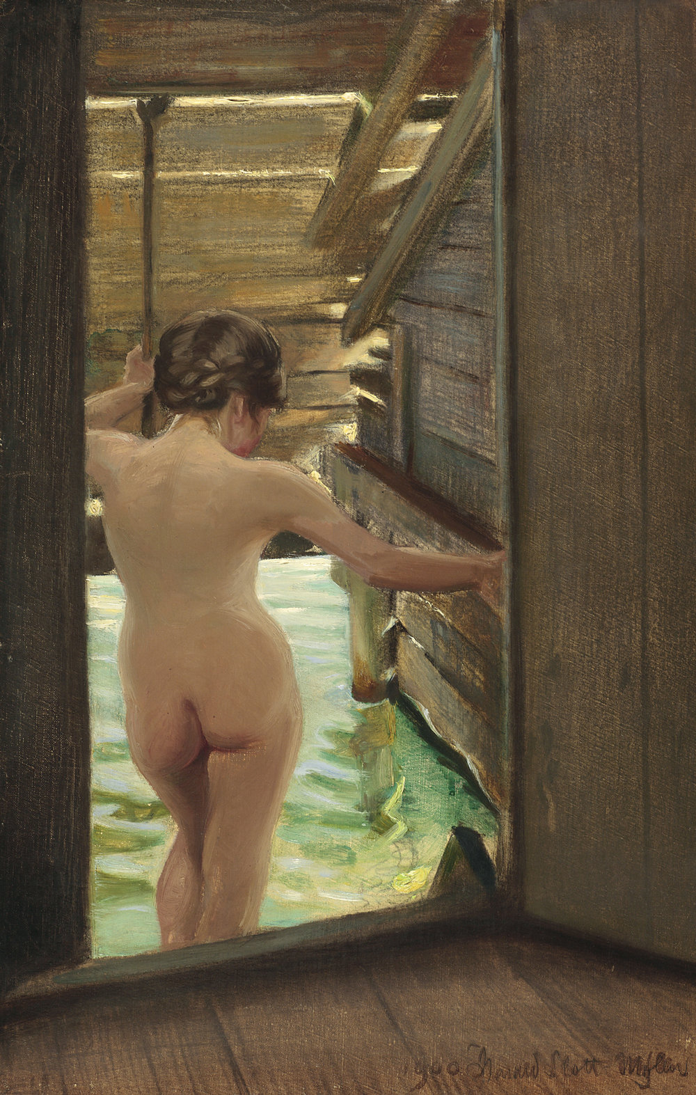 Harald Slott-Moller (Danish 1864-1937) 'Nude Woman Bathing'