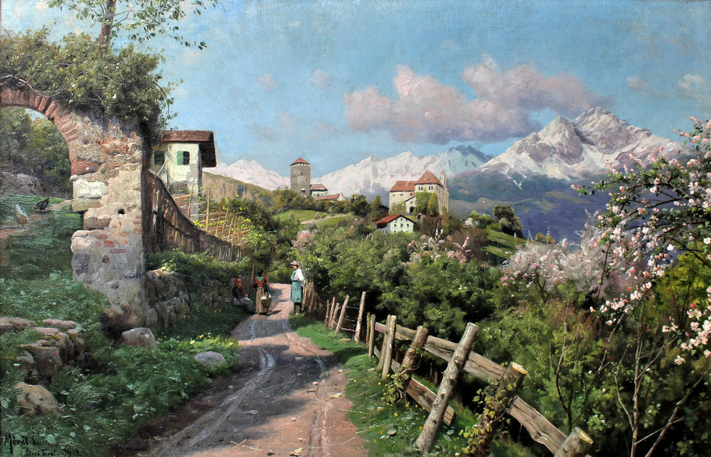 Peder M. Monsted (Danish 18599-1941) 'Spring Landscape in Tyrol 1913'