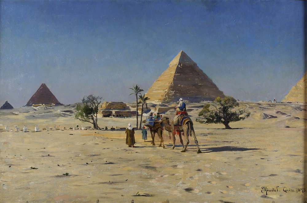 Peder M. Monsted (Danish 1859-1941) 'View of Giza Pyramids Outside Cairo'