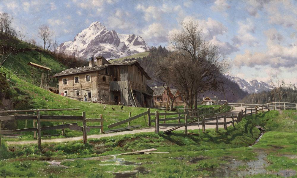 Peder M. Monsted (Danish 1859-1941) 'Landscape with Farm in Werfen'