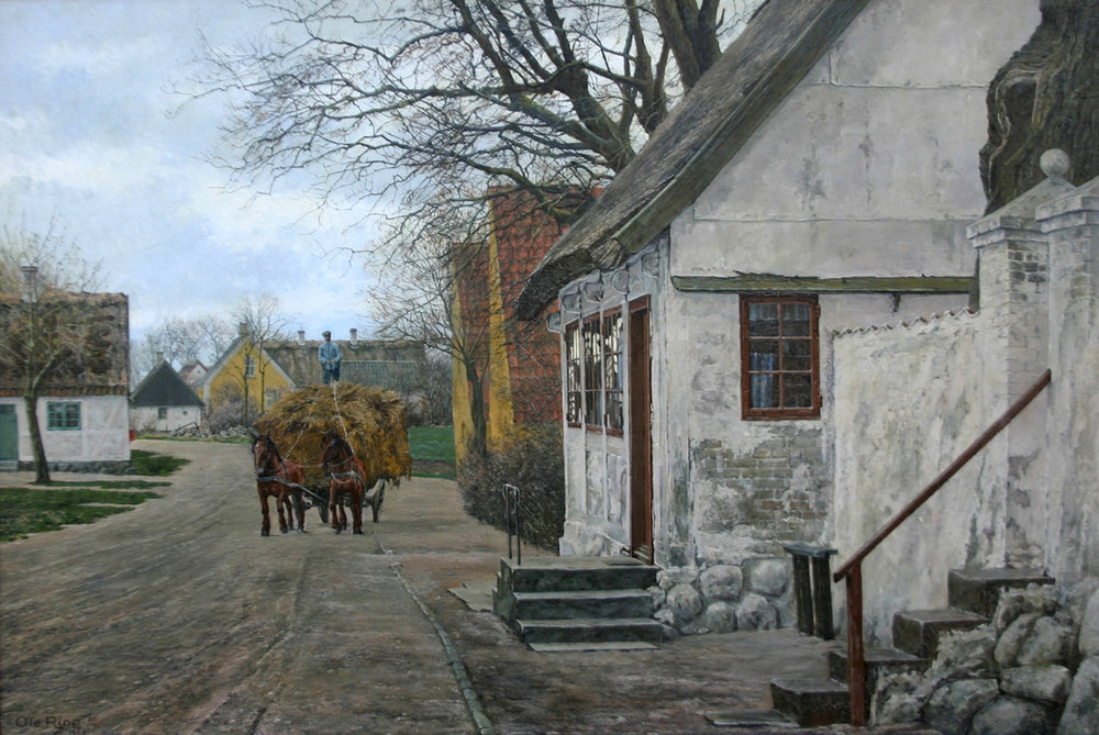 Ole Ring (Danish 1902-1972) 'Village with Horse Drawn Cart'