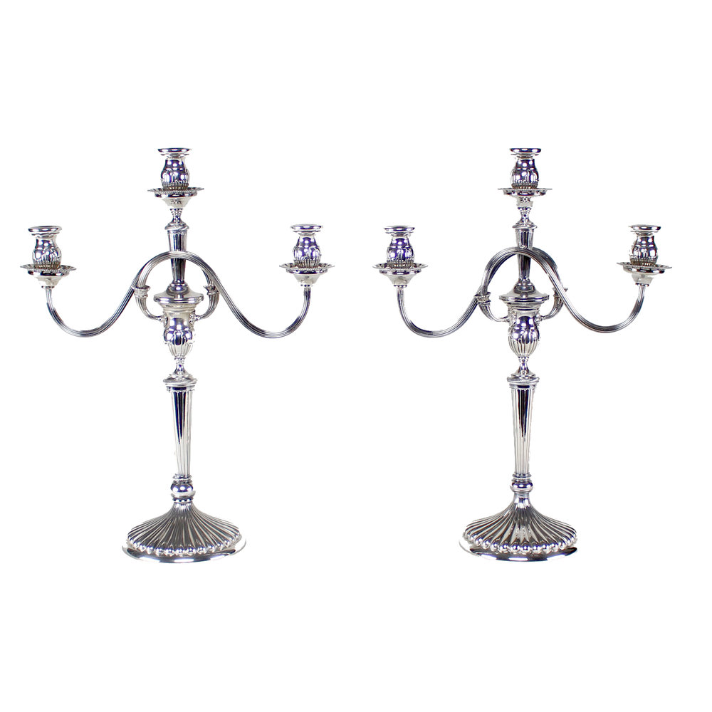 Pair of Italian Silver Candelabra, Marked 800