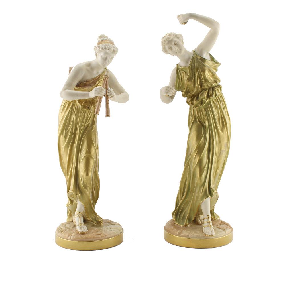 Royal Worcester Pair of Greek Figurines , Modelled by James Hadley, 1897