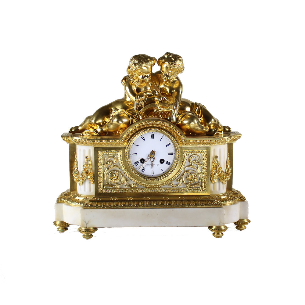French Gilt Bronze and White Marble Clock, Circa 1850