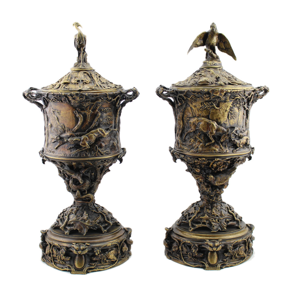 After Pierre Jules Mene (French 1810-1879) Pair of Bronze Covered Urns
