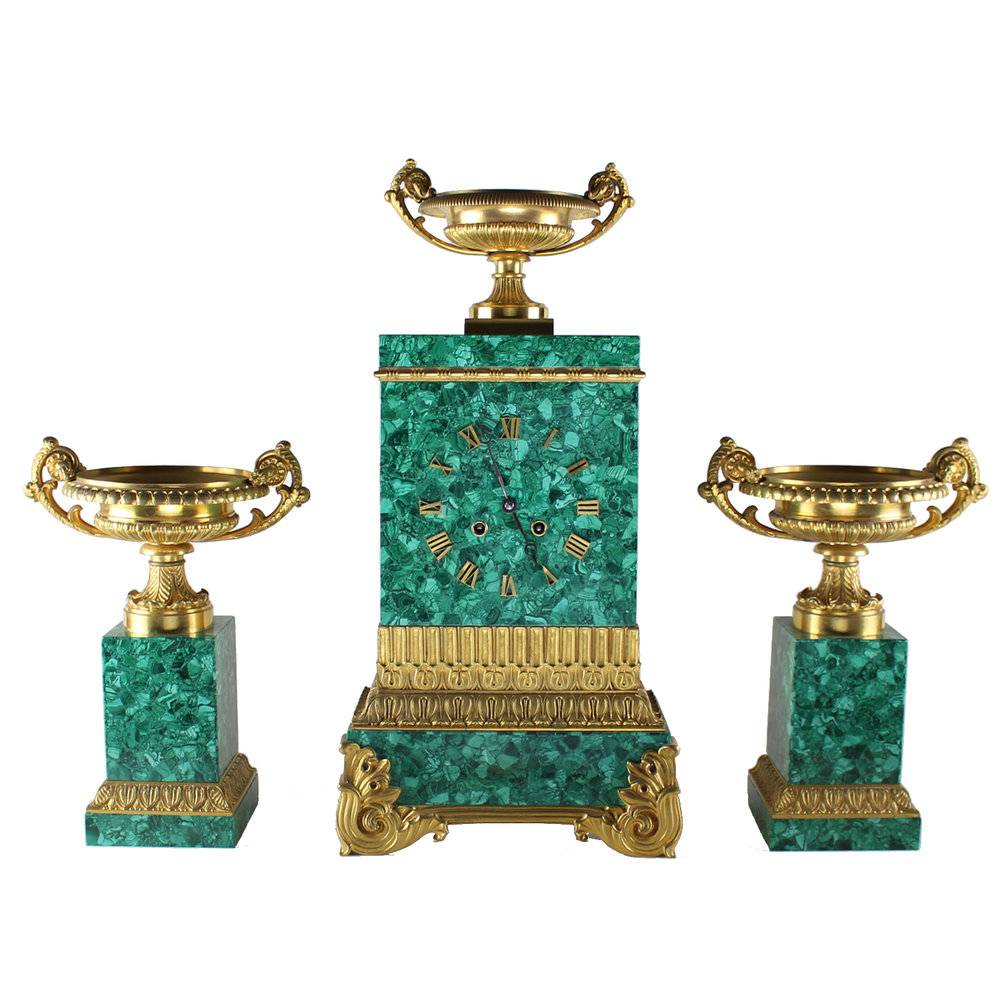 Rare Russian Malachite Garniture Set, Circa 1840