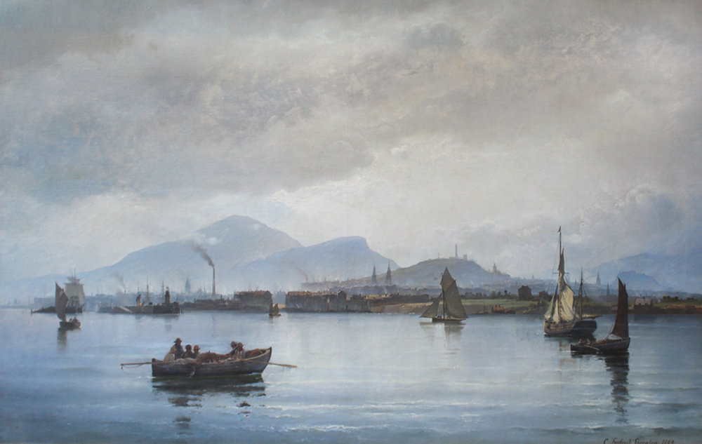 Carl F. Sorensen (Danish 1818-1879) 'The Port of Leith by Firth of Forth'
