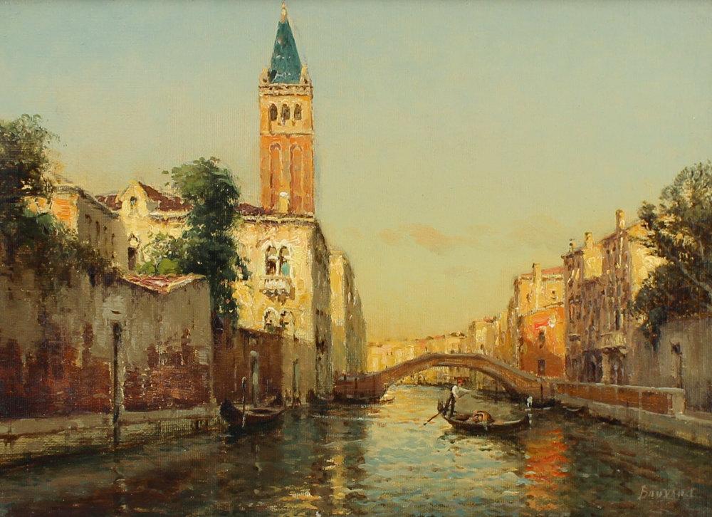 Auguste Bouvard/Marc Aldine (French 1882-1956) 'Gondolier on Venetian Canal'