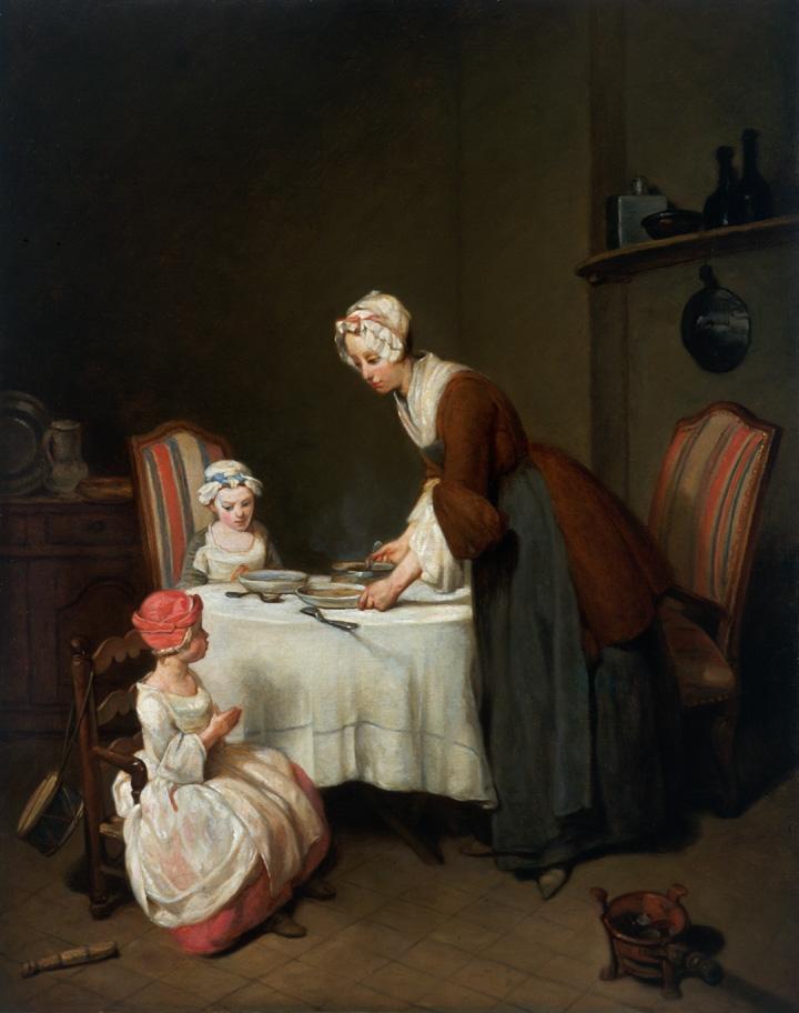 Jean Baptiste Simeon Chardin, Studio (French 1699-1779) Le Bénédicité and La Mère Laborieuse