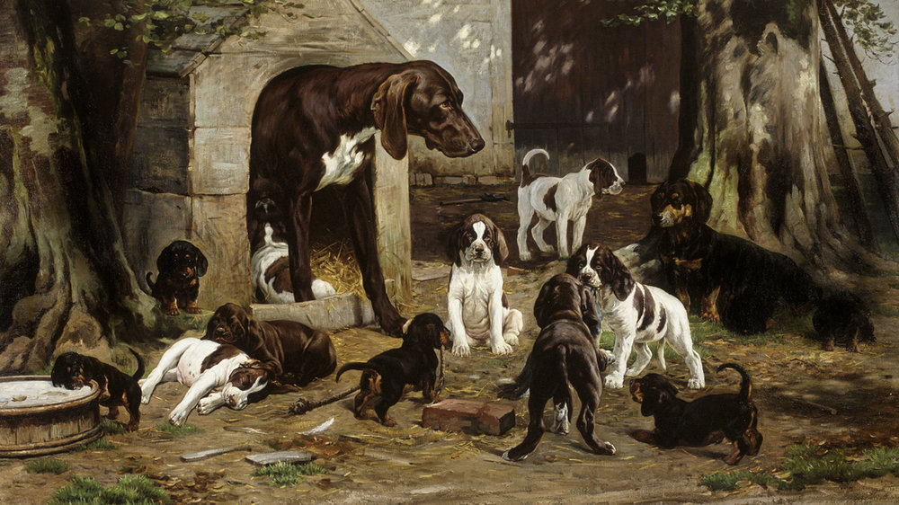 Simon Simonsen (Danish 1841-1928) Pointer And Dachshund Dogs With Many Puppies