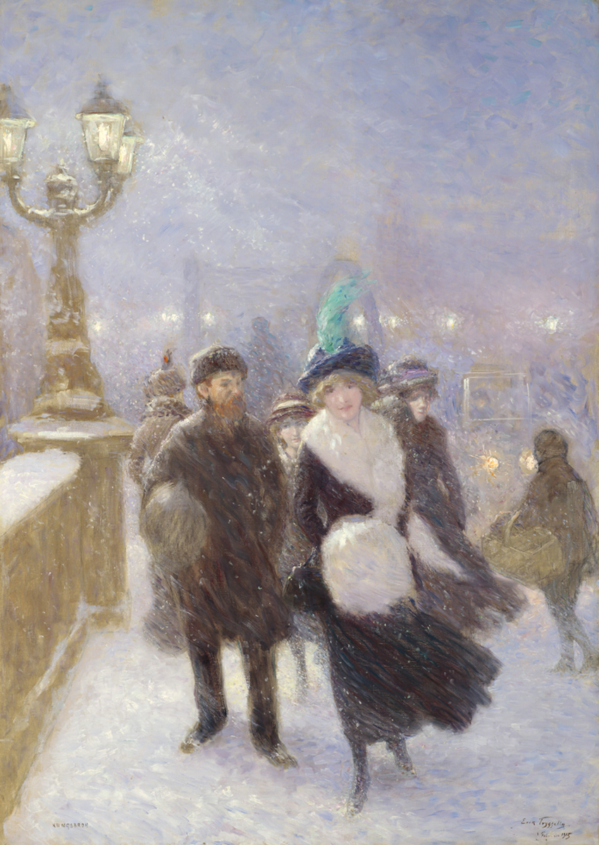 Erik Tryggelin (Swedish 1878-1962) Winter Walking At Kungsbron, Stockholm
