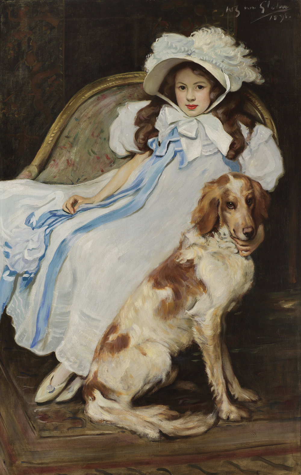 Wilfred Gabriel De Glehn, (British 1870-1951) Portrait Of Girl With Dog
