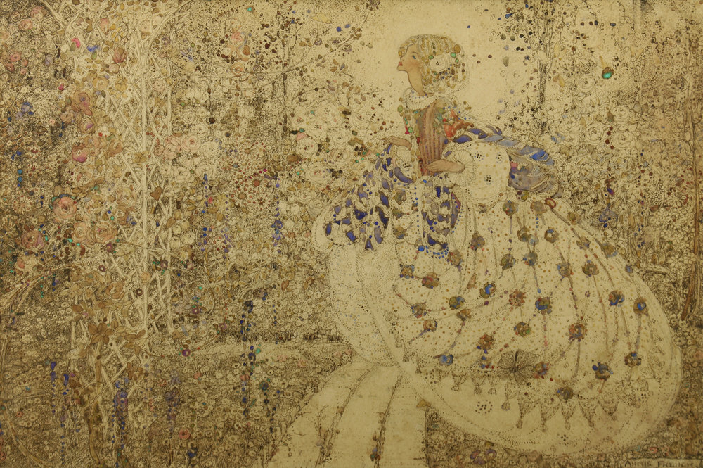 Annie French (Scottish 1872-1965)  'Woman In A Garden, Possibly Cinderella'