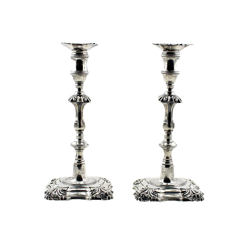 Pair of Georgian Sterling Silver Candlesticks, London 1761