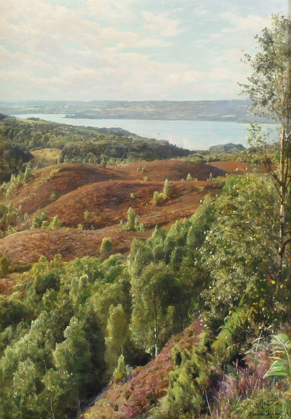 Peder M. Monsted (Danish 1859-1941)  'Julso Set From Himmelbjerget'