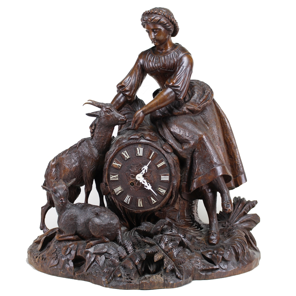 Black Forest Carved Wooden Mantel Clock, German Circa 1890