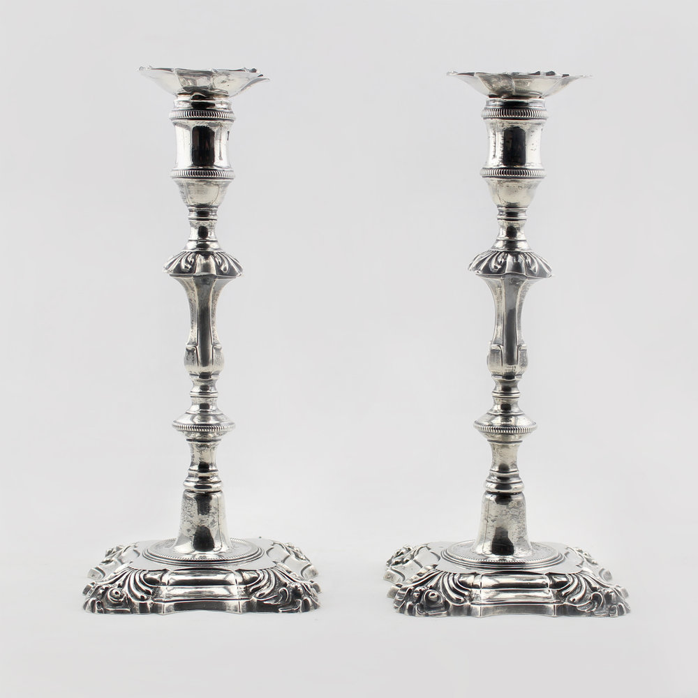 Pair of Georgian Sterling Silver Candlesticks