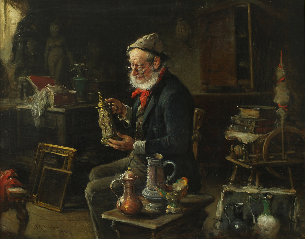 Hermann Kern (Hungarian 1839-1912) 'The Old Antiquarian'