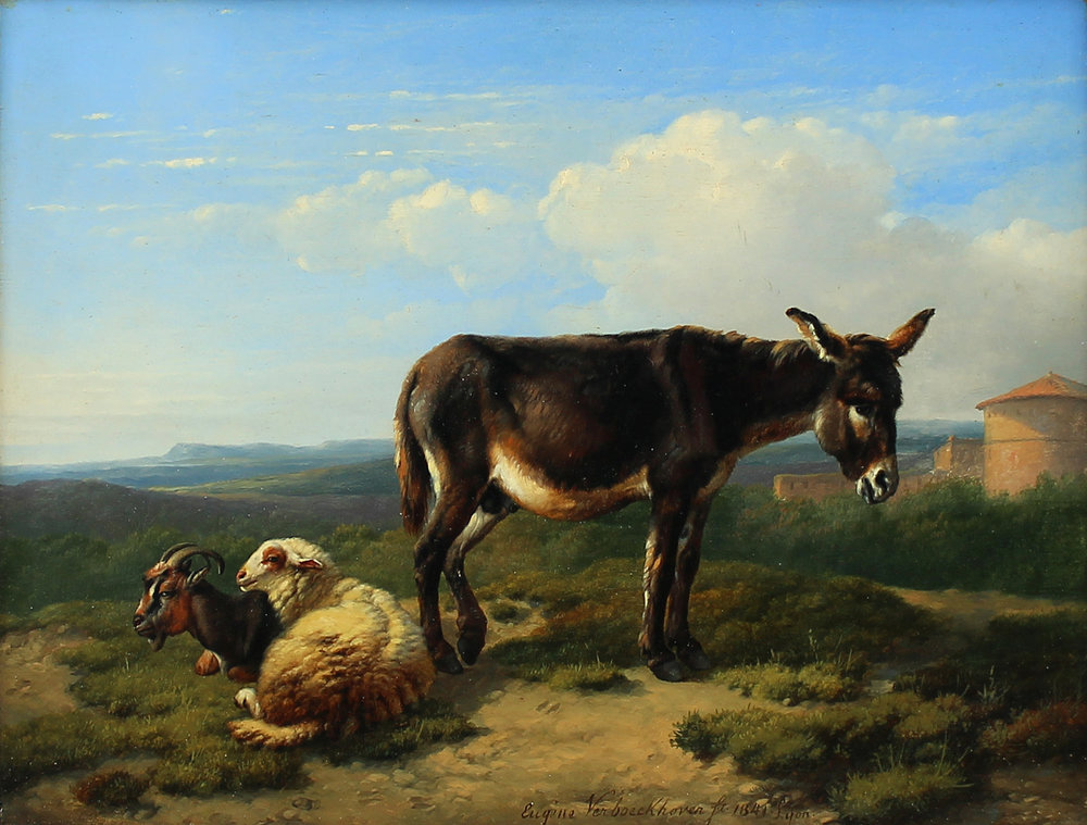 Eugene Verboeckhoven (Belgian 1798-1881) 'Donkey with Sheep and Goat 1841'