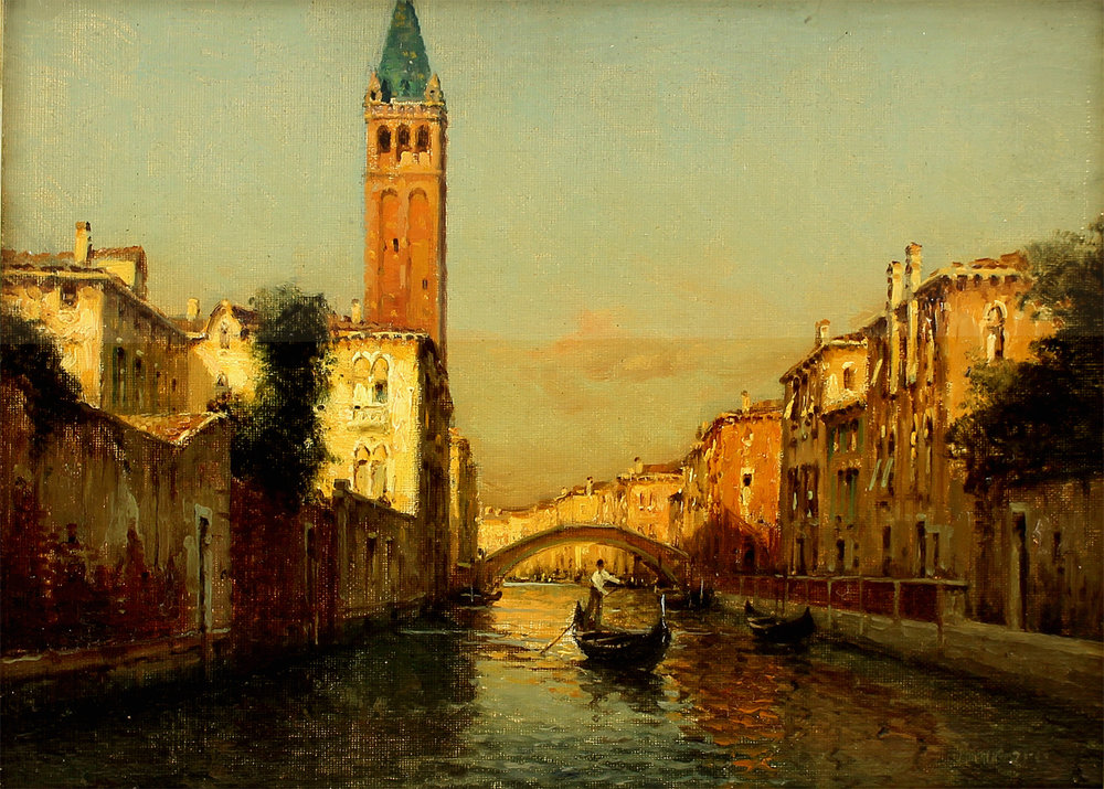Auguste Bouvard/Marc Aldine (French 1882-1956) 'Gondolier by St. Mark's Belltower'