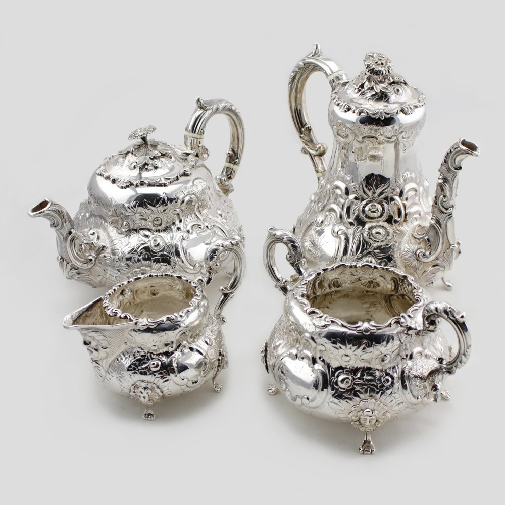 Victorian Sterling Silver 4 Piece Tea Service