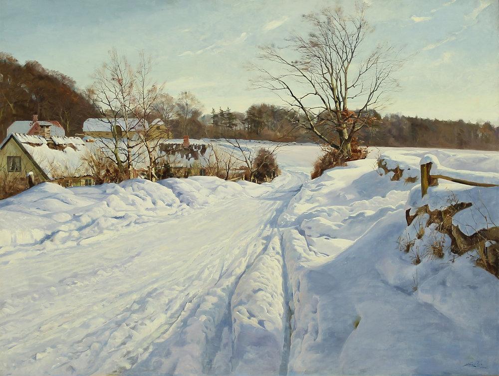 Harald Pryn (Danish 1891-1968) 'Snow Covered Landscape Near Søllerød, Zealand'