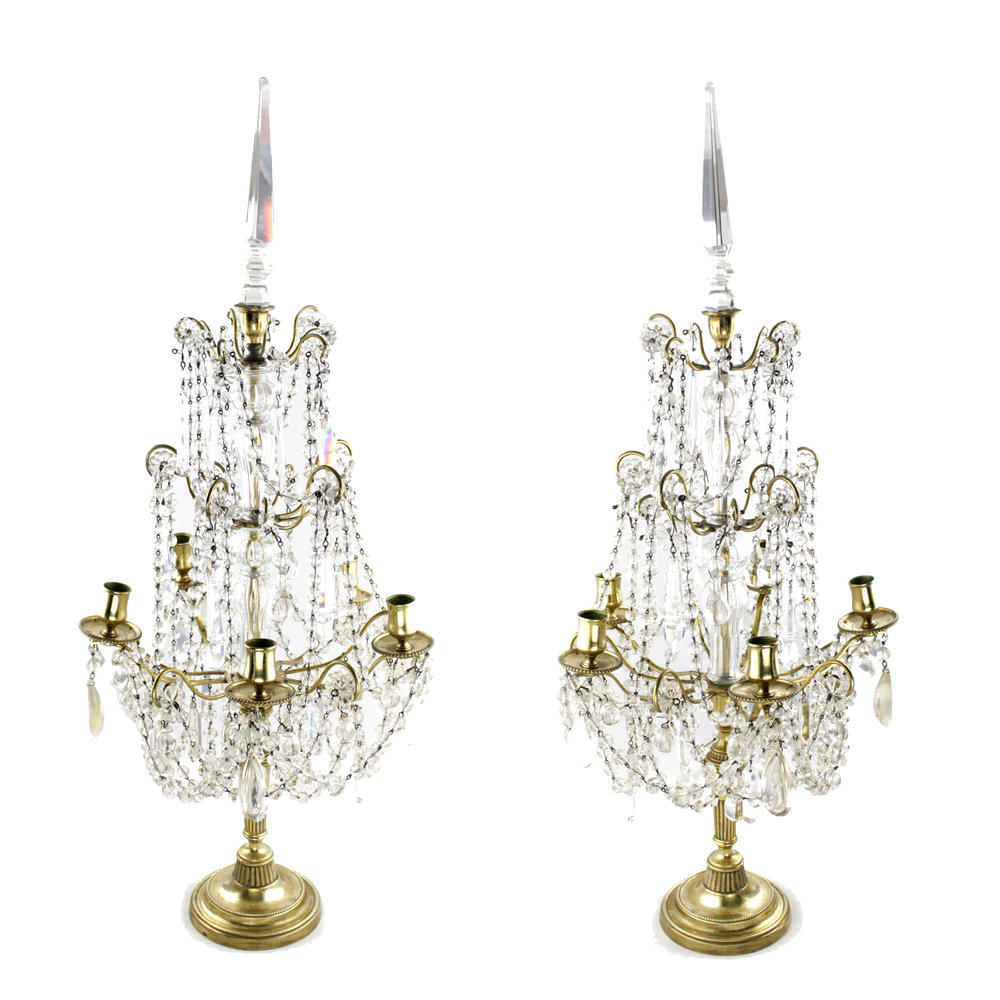Pair of Gilt Girandoles with Crystal Drops, French Circa 1900