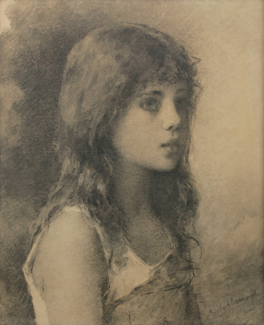 Alexis Harlamoff (Russian 1842-1915) 'Portrait of Girl'