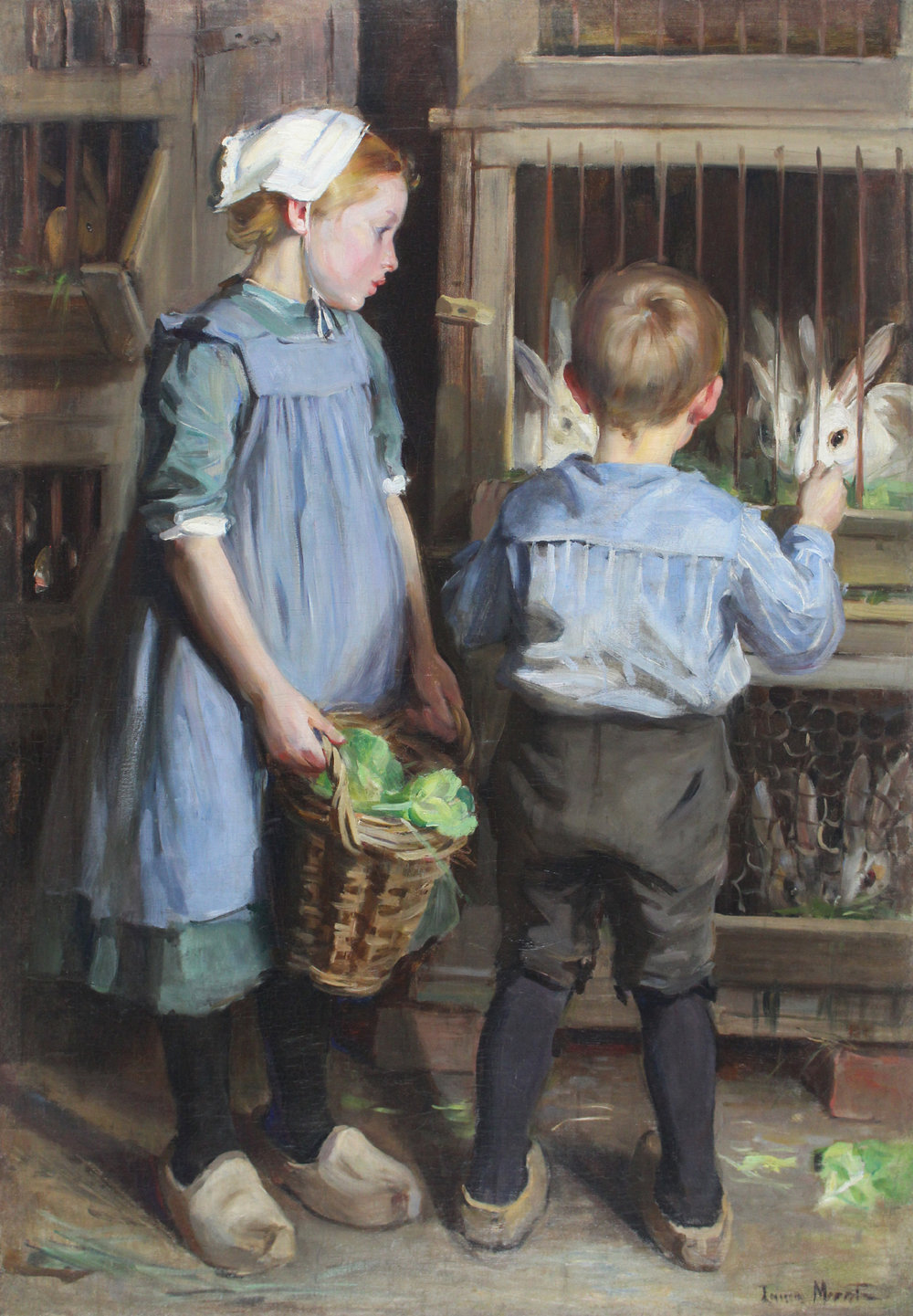 Laura Muntz Lyall (Canadian 1860-1930) 'Children Feeding the Rabbits'