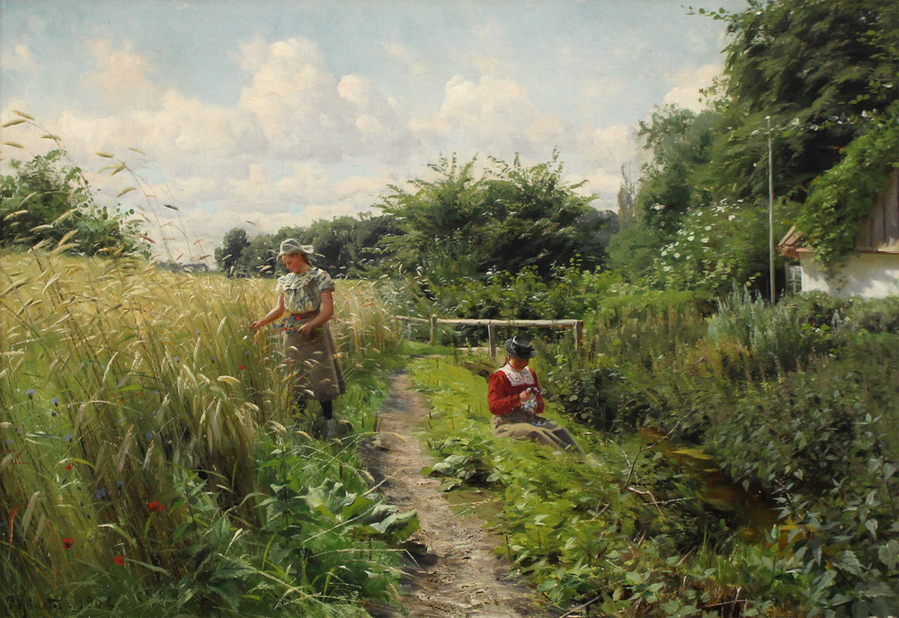 Peder M. Monsted (Danish 1859-1941) 'Two Young Women Picking Flowers a Sunny Summer Day'