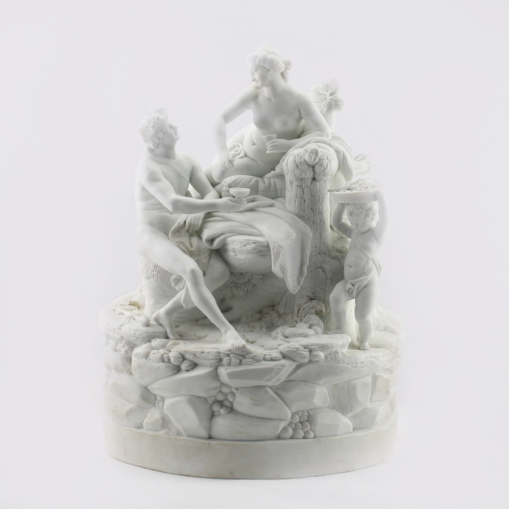 Niderviller white bisque porcelain Baccanale figure group