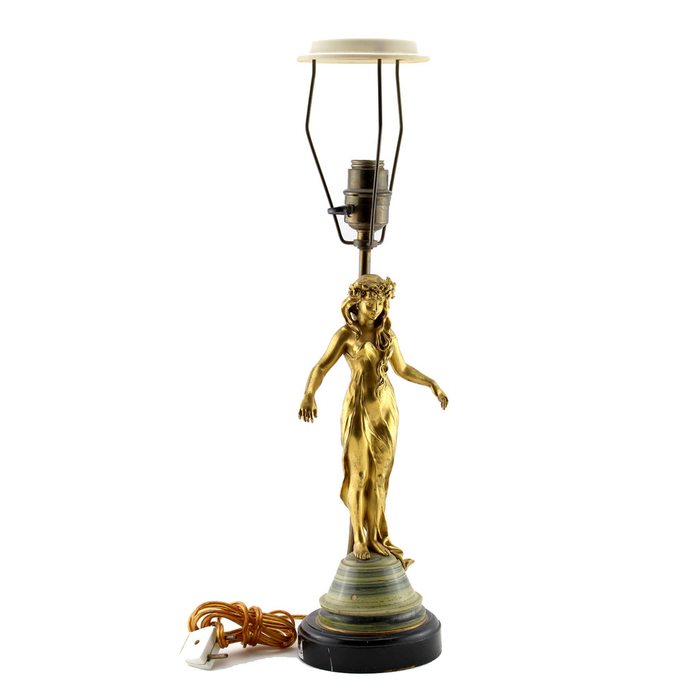 Gilt Art Nouveau Lamp, French Circa 1900