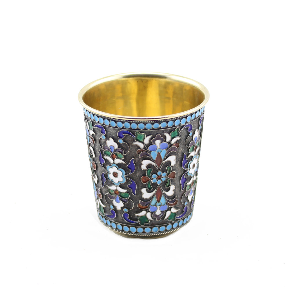 Soviet Russian Silver and Enameled Cup and Saucer, Gustav Klingert, Moscow, 1899-1908,