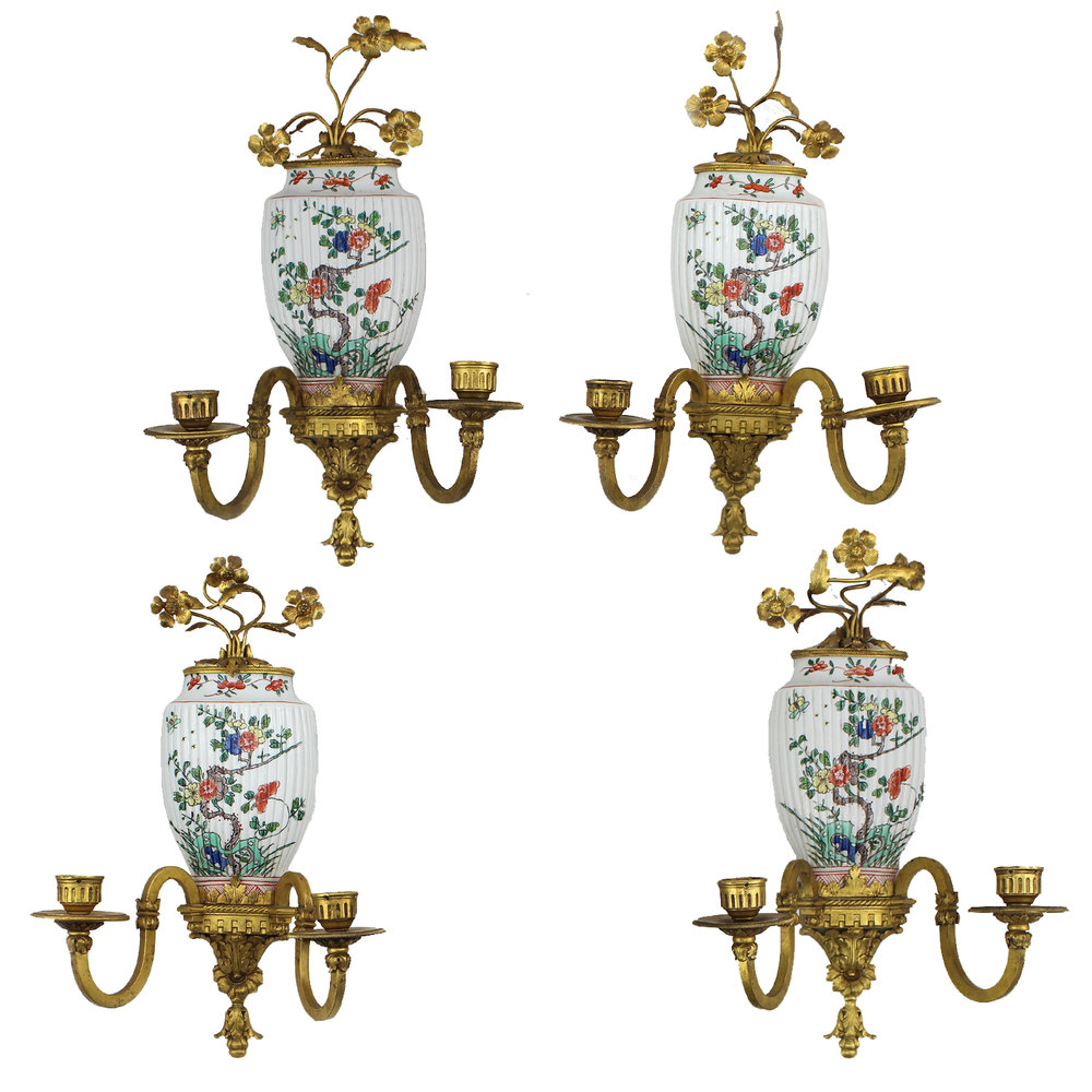 Set of four French late 19th century wall sconces