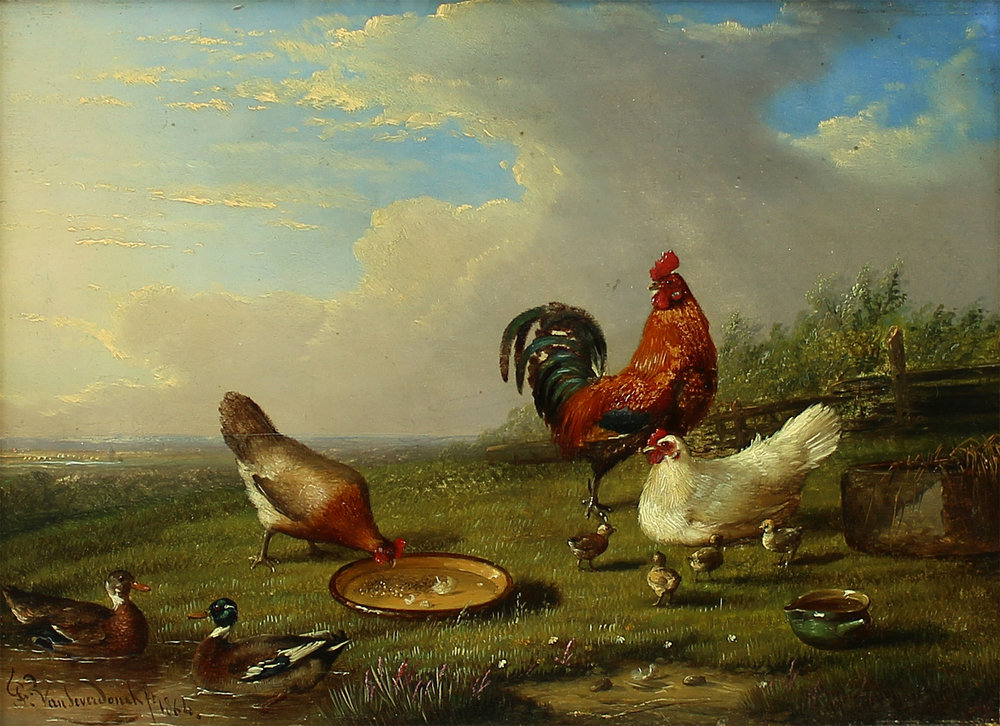 François Van Severdonck (Belgian 1809-1889) 'Fowl in Landscape'