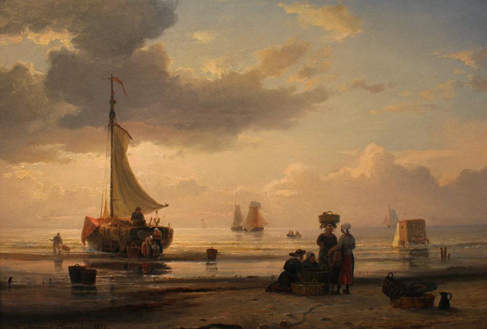 Carl F. Sorensen (Danish 1818-1879) Fisherfolk Along the Shore at Dawn.jpg