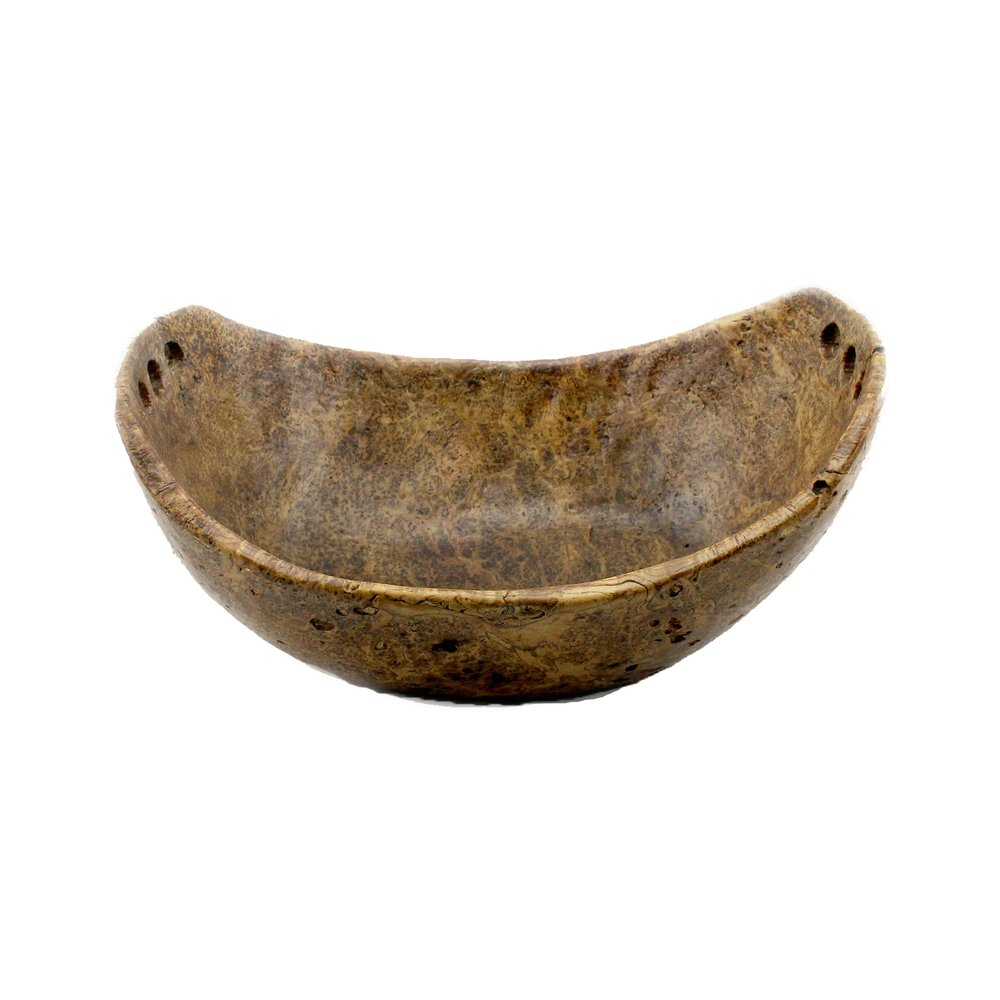 Great Lakes First Nations Carved Burl Wooden Oval Bowl, 19th Century