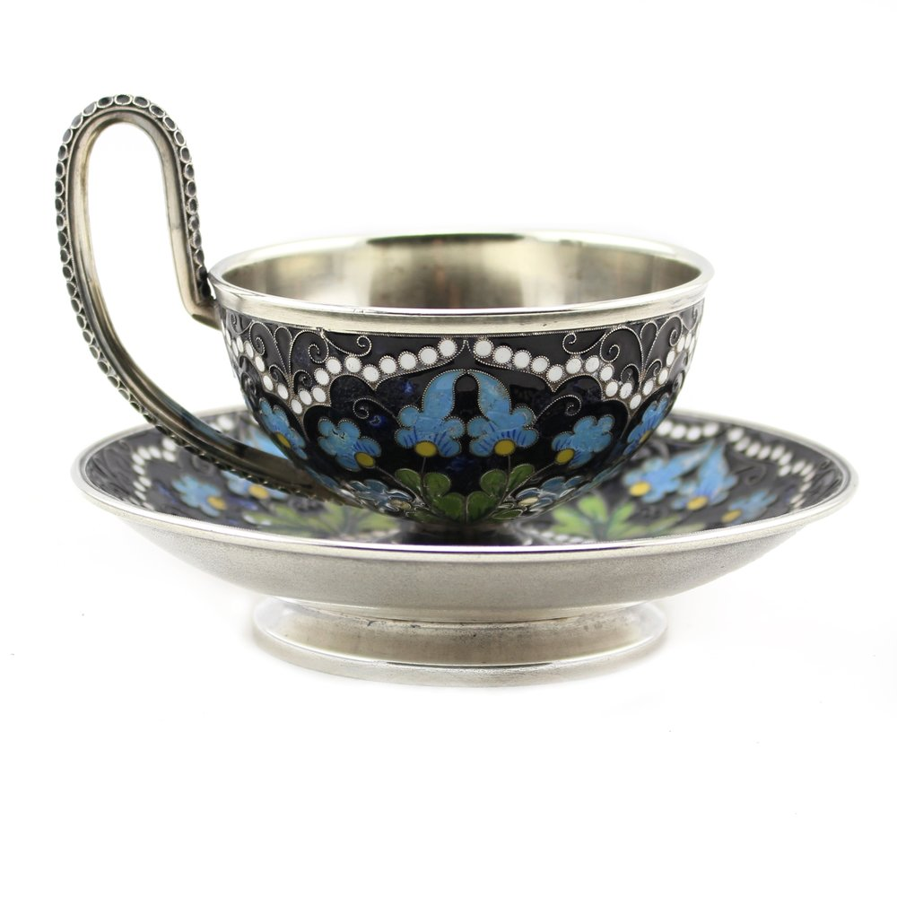 Soviet Russian Silver and Enameled Cup and Saucer, Made by Leningrad Jewelry Factory in 1962