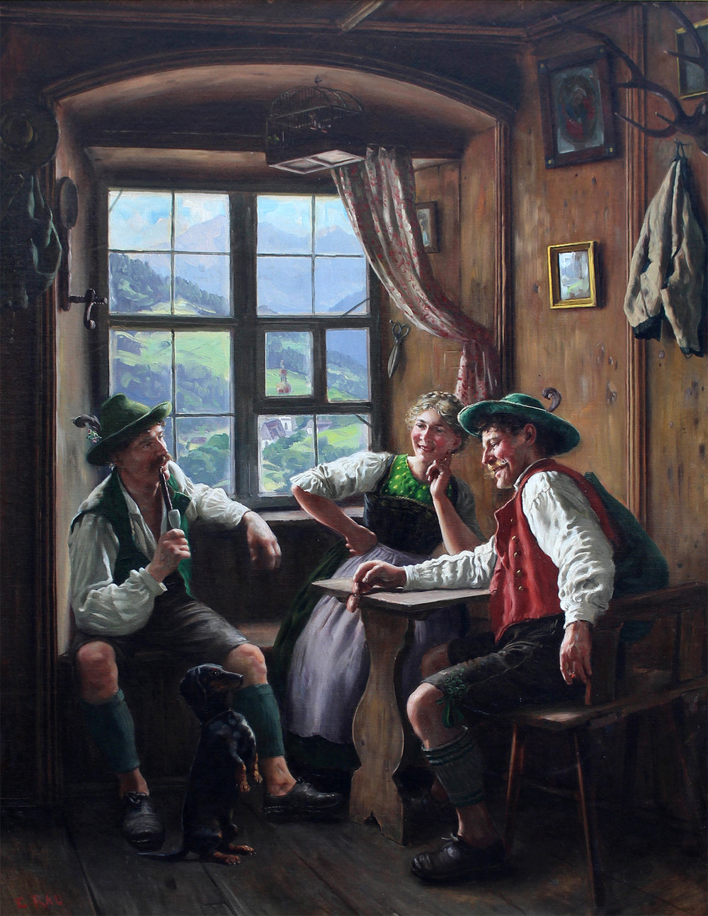 Emil Rau (German 1858-1937) 'Life in the Alps'