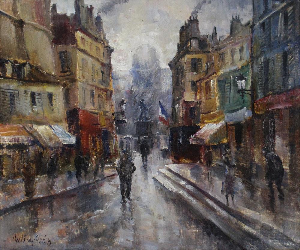 Mogens Vantore (Danish 1895-1977) 'Parisian Street Scene'
