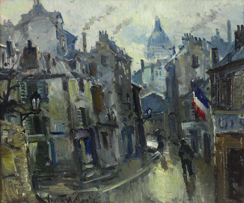 Mogens Vantore (Danish 1895-1977) 'Paris Street with Sacre Coeur in Background'