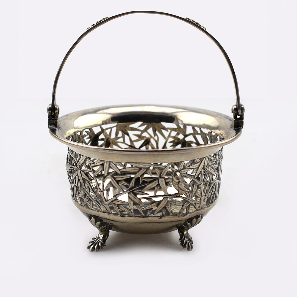 Chinese export silver basket with handles