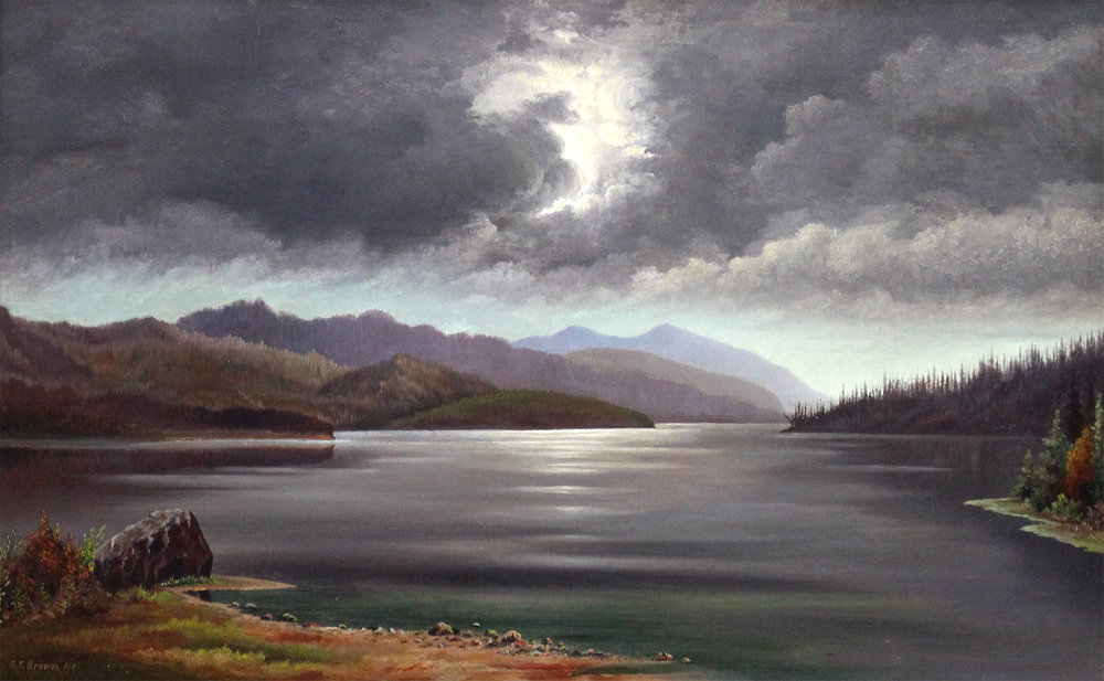 Grafton Tyler Brown (American/Canadian 1841-1918) 'Thunder Storm on Shuswap Lake, B.C. September 28, 1882'