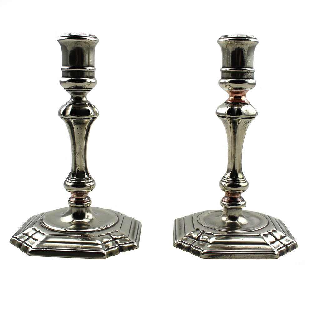 Pair of Baluster Styled Paktong Candlesticks, Chinese 18th Century